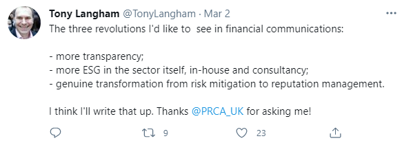 Tony Langham, chief executive of Lansons, recently outlined three revolutions he wants to see in financial communications.