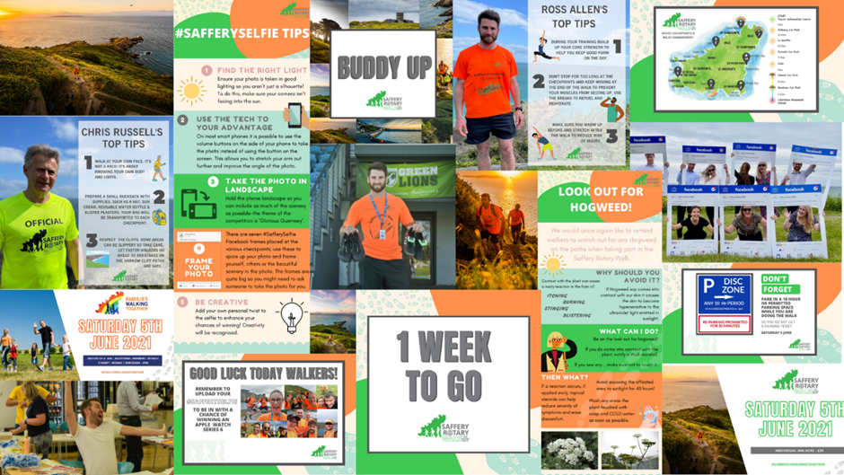 Collage of Saffery Rotary Walk social posts